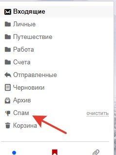 раздел «Спам»