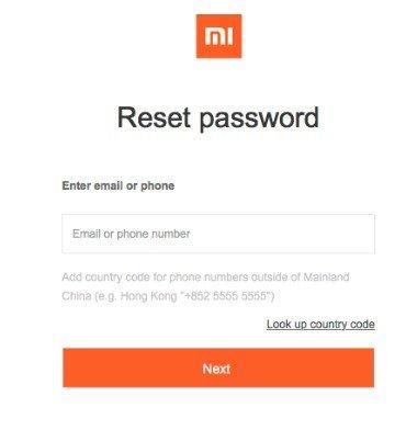 Сброс пароля Ми аккаунта