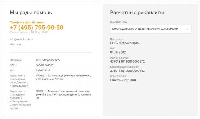 Метрокредит МФО реквизиты