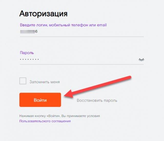 Авторизация на сайте Ростелекома