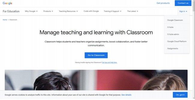 Выпадающее меню Google Classroom