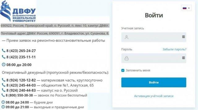 Сайт ДВФУ контакты